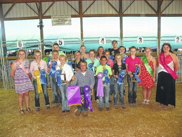 Caleb Penwell was named the Overall Showmanship winner at Tuesday's Swine Showmanship Show at the swine arena. The top five were Penwell, Konner May, Kylan Knapp, Taylor Kirkpatrick and Adam McCoy. Penwell (front) is pictured with all of the class winners from Tuesday's show.