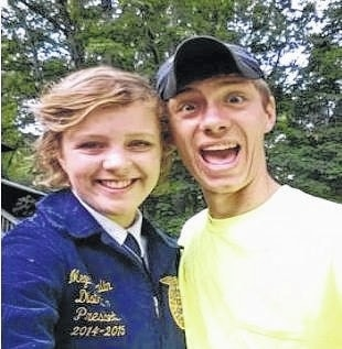 Miami Trace FFA President Zach Ault with 2014-15 Ohio FFA District 10 President Megan Whalin enjoying FFA Camp.