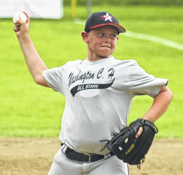 Tanner Lemaster prepares to deliver a pitch for the Washington C.H. 10-year-old all-stars during a District Eight tournament game against Moraine West Carrollton Friday, July 17, 2015 at the Little League complex on Lewis Street.