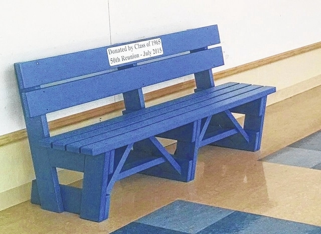 "The bench pictured here was donated to Washington City Schools by the WHS Class of 1965 in commemoration of the 50th anniversary of their graduation. It sits in the hallway adjacent to Liberty Hall. The bench was made by Bright Idea Shops of Akron which is owned by class member Alan Robbins. The plaque on the bench reads: ""Donated by Class of 1965, 50th Reunion - July 2015."""