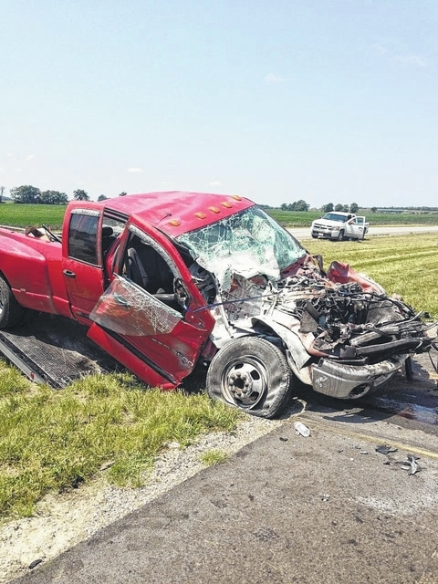 This pickup truck was one of four vehicles involved in an accident on U.S. 35 on Monday.
