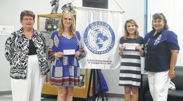 Altrusa International of Washington C.H. awarded $500 scholarships at its early-August meeting to two 2015 female graduates of Fayette County's public high schools. Shown are (from left) Altrusa Treasurer Claudia Coe, Makayla Gilmore from Washington High School, Josie Cruea from Miami Trace High School, and Altrusa President Alice Craig. Makayla leaves shortly for Wright State University; Josie, for The Ohio State University. Altrusans raise funds for scholarships through projects such as the upcoming fifth-annual Loving Spoonsful tasting luncheon, scheduled for Oct. 31 at the Commission on Aging. Last year's successful event resulted in $2,700 being contributed to local community organizations and projects.