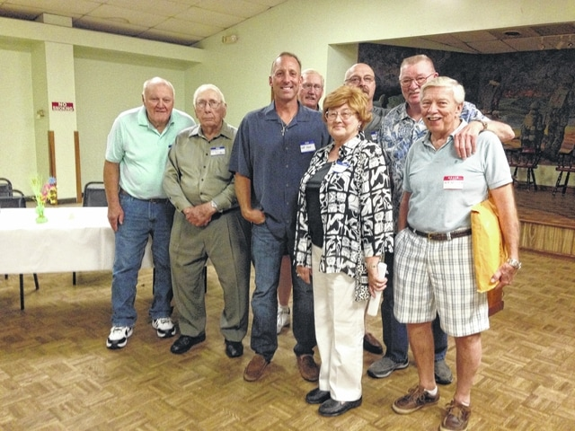 Pictured left to right are John Grooms, Norman Armbrust, Jeff Shaw, Gary Kinzer, Shirley Moats, Frank Free, Jr., Gerald Newlon, Jack Hatmacher.