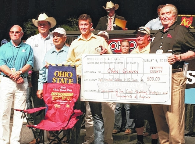 Chas Grover was recently honored with two awards for his achievements in the Meat Goat industry of the Ohio State Fair. Pictured (L to R): Jeff Milgrom, Event Marketing Strategies; David Daniels, Ohio Director of Agriculture; Dominic Vivona, Amusements of America; Chas Grover and Charlie Cox, Concessions by Cox.