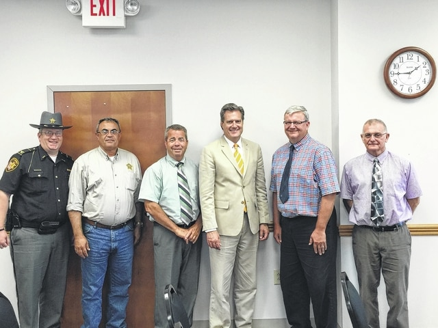 FCSO Deputy Chief Andy Bivens, Fayette County Sheriff Vernon Stanforth, County Commissioner Tony Anderson, Congressman Mike Turner, County Commissioner Dan Dean, and County Commissioner Jack DeWeese spent Monday afternoon discussing the needs of Fayette County's jail and rehabilitation and transition programs.