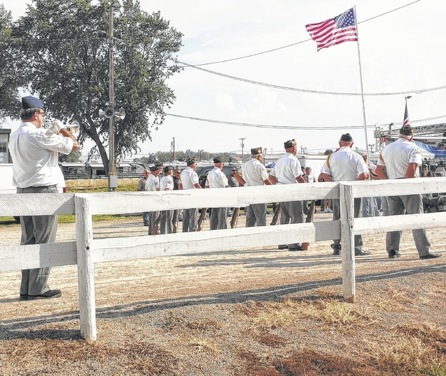 The Fayette County Honor Guard performed a color guard flag raising ceremony on Saturday evening during the Southern Ohio Buckeye Bike Rally (SOBBR) at the fairgrounds. The SOBBR was held as a fun way to get bikers together for a good time and to also raise money for local and tri-county veterans, an endeavor that raised nearly $10,000 net proceeds.