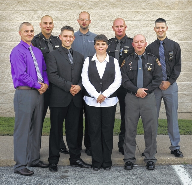 Students who completed the Basic Peace Officers Training Program at Southern State Community College include: (front, l-r) Michael B. Ford, Wesley A. Anderson, Renee D. Stanley, Jeremy A. Moore; (back, l-r) Brandon Young, Nathan A. Rahmlow, Ron R. Martin Jr., and Steven N. Zitney.