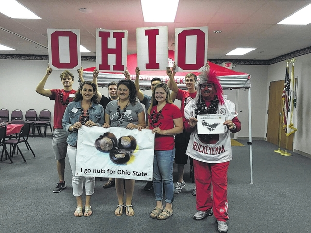 The Fayette County OSU Alumni Club welcomed new members into the club recently. Pictured here (L to R); front row: Natalie Miller, Abbie Noble, Bailey Hoppes and Larry Lokai. Back row: Alec Wayne, RG Barton, Nick Nitta and Todd Fox.