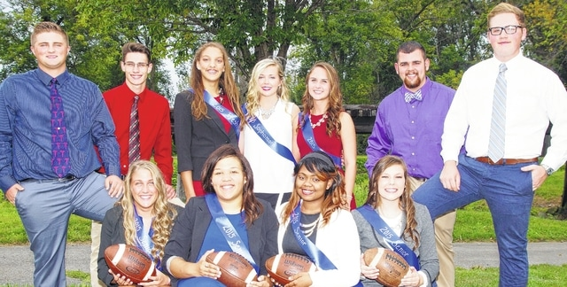 The Washington High School Homecoming Court for 2015 was introduced at McHenry Field on Wednesday. The court includes (front row, left to right) senior Cole Massie, a king candidate; queen candidates (all seniors) Savannah Coe, Mallarie Garrett, Kaleetia Marks and Karlee Mayfield; senior Noah Brown, a king candidate; and (back row, left to right) senior Seth Thomas, a king candidate; freshman attendant Hannah Haithcock; sophomore attendant Ally Funari; junior attendant Mallory Whitworth; and senior Gavin Mallow, a king candidate. The queen and king will be announced at Friday's homecoming game.