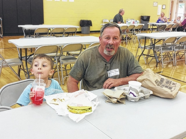 Miami Trace Elementary students celebrated Grandparent Week this week by inviting local grandparents to enjoy lunch with them at the school. Pictured here is Jay Carter on Thursday with his grandson.