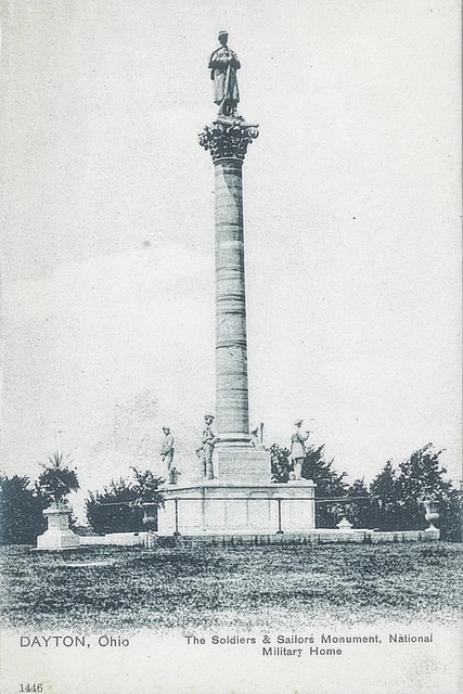 Paul LaRue, retired Washington High School social studies teacher and avid historian, recently traveled to Westerville to present a topic on veteran homelessness in relation to the 150th anniversary of the creation of the Dayton Soldier Home System. This postcard depicts the soldiers and Sailors' Monument on the grounds.