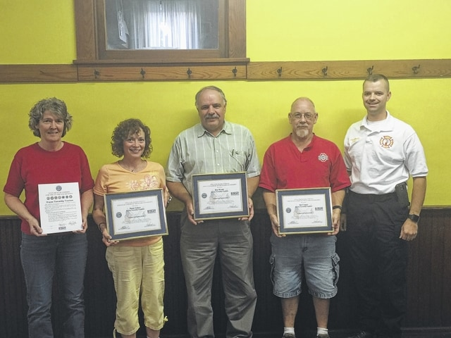 The Wayne Township Trustees were awarded the Employer Support of the Guard and Reserve (ESGR) Patriot Award during Tuesday evening's meeting. From left to right are: Township Fiscal Officer Cindy Seaton, Trustee Marie Fetters, Trustee Ron Weade, Trustee Jim Cooper, and Fire Chief Chris Wysong.