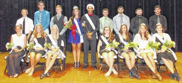 Miami Trace High School honored the students who made the 2015 Homecoming Court during an assembly Friday afternoon. The queen and king were named and crowned as well during the ceremony with Morgan Ford and Larry Jackson taking the titles (at center). The attendants are also pictured here. Front row (L to R): freshman attendant, Alli Fullmer; sophomore attendant, Tanny Bryant; junior attendant, Lauren Truex; senior attendant, Ginna Climer; senior attendant, Tasha Fox; senior attendant, Haylee Higgins and senior attendant, Megan Self. Back row (L to R): freshman attendant, Nick Foody; sophomore attendant, Darby Tyree; junior attendant, Jacob Haldeman; senior attendant, Kody Scott; senior attendant, Baley Allen; senior attendant, Matthew Hottinger and senior attendant, Trevon Burnside.