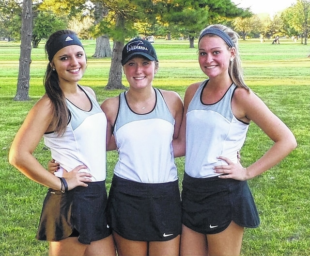 It was senior night for Miami Trace tennis Monday, Sept. 14, 2015 prior to the match against Unioto. Lady Panther seniors are (l-r); Bethany Reiterman, Whitney Cockerill and Haylee Higgins.