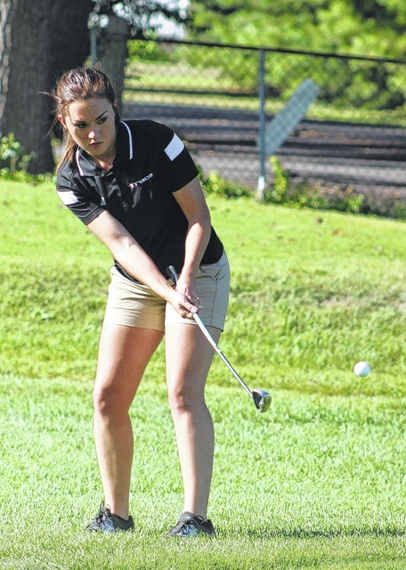 Makayla Eggleton chips onto the No. 7 green for Miami Trace during an SCOL match against East Clinton Thursday, Sept. 24, 2015 at the Club at Quail Run.