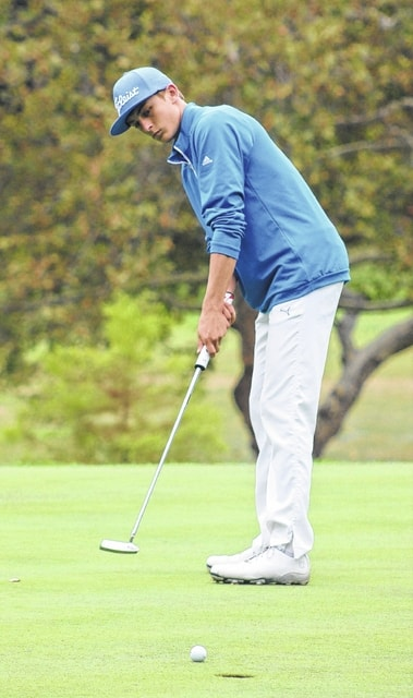 Washington's Max Knisley watches as his putt is about to drop into the hold during the South Central Ohio League tournament Saturday, Sept. 26, 2015 at the Chillicothe Country Club. Knisley was the tournament medalist with a score of 72.
