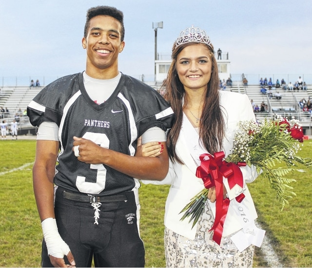 "During pre-game against Chillicothe Friday, Miami Trace High School honored their 2015 Homecoming Court by presenting them to the fans. Larry Jackson and Morgan Ford were named the king and queen. The high school will hold their dance this evening with the theme ""Midnight Masquerade."" Please see today's sports and the Friday Night Lights page for more Homecoming coverage."