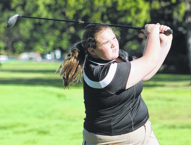 Miami Trace junior Tori Riley tees off during an SCOL match against East Clinton Sept. 24, 2015.