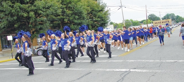 The Blue Lion dance team led the homecoming parade through downtown Washington C.H. on Wednesday.