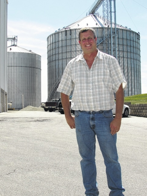 Gary Brock photo Bluegrass Farms president and owner Dave Martin stands in front of his non-GMO soybean processing plant in Jeffersonville.