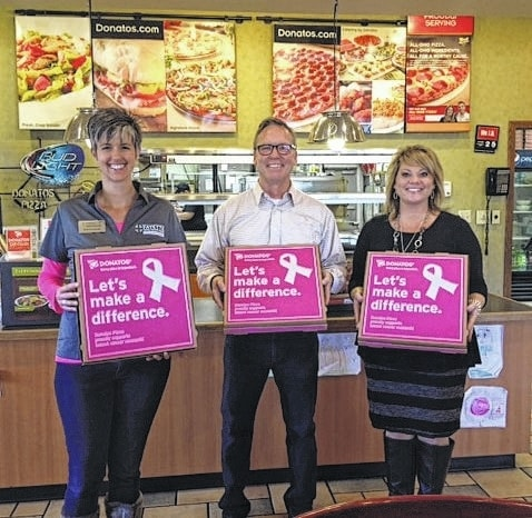 From left to right: Shannon Jacobs, Foundation board member; Doug DeVilbiss, owner and operator of the Donatos of Washington Court House and Wilmington locations; and Chelsie Hornsby, Director of Business Development at FCMH.
