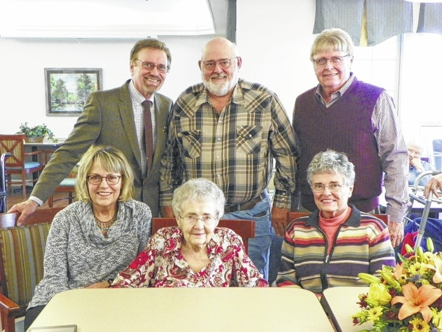 Ella May Belt celebrated her 100th birthday at Carriage Court Assisted Living & Memory Care in Washington Court House on Thursday afternoon. Pictured here; front row (L to R): Jane Belt, Ella May Belt and Ellen Delay. Back row (L to R): David Belt, Joe Belt and Bob Belt.