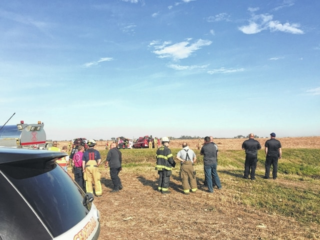 Nine local fire departments came to assist in a grass fire in Jeffersonville Wednesday afternoon. An adjacent field caught fire after a government controlled burn jumped the fire barrier.