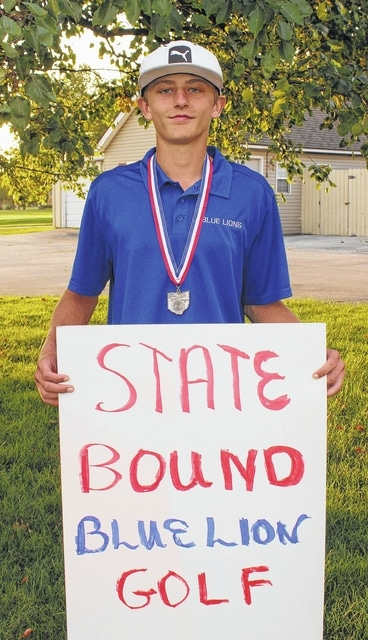 Washington High School senior Max Knisley, above, qualified to the Division II State golf tournament by winning a three-hole playoff following 18 holes at the District tournament at the Crown Hill Golf Club Wednesday, Oct. 7, 2015.