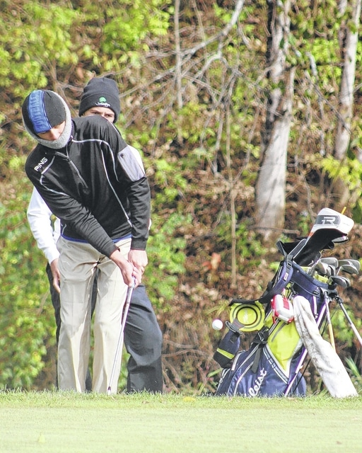 Max Knisley chips onto the green on the No. 10 hole at the Division II State golf tournament Saturday, Oct. 17, 2015 at NorthStar Golf Club in Sunbury.