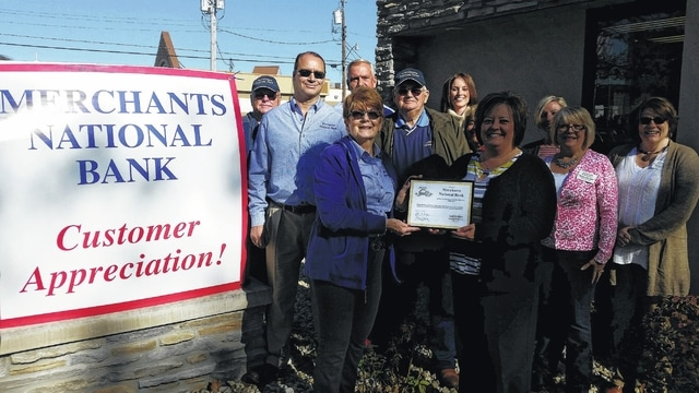 Merchants National Bank recently held a luncheon to celebrate being open for 25 years. Fayette County Chamber of Commerce board of directors and ambassadors were on hand to help them celebrate with a certificate recognizing the milestone.
