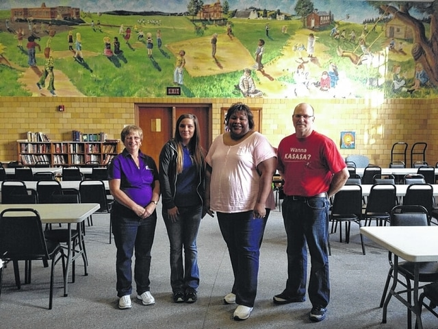 In Fayette County, First State Bank supported The Well at Sunnyside. In this photo: Sharon Welsh, Nikki Gibson and Jeff Ratliff with Chiquita Nash, coordinator at the Well.