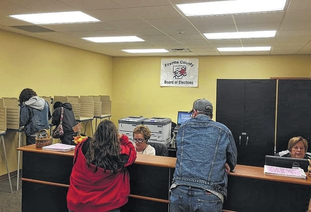 Fayette County residents came out to the Fayette County Board of Elections despite the rain Tuesday to vote early for the November general election.