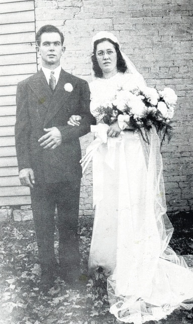 Wayne Forsythe and Velma Bick were joined in union on Nov. 3, 1940 as the first wedding to be held in the Church of Christ in Christian Union in Winchester. The ceremony was performed by the bride's uncle, Russel Bowman. This is a photo that was taken on the day of the wedding. This year the couple celebrated their 75th anniversary.
