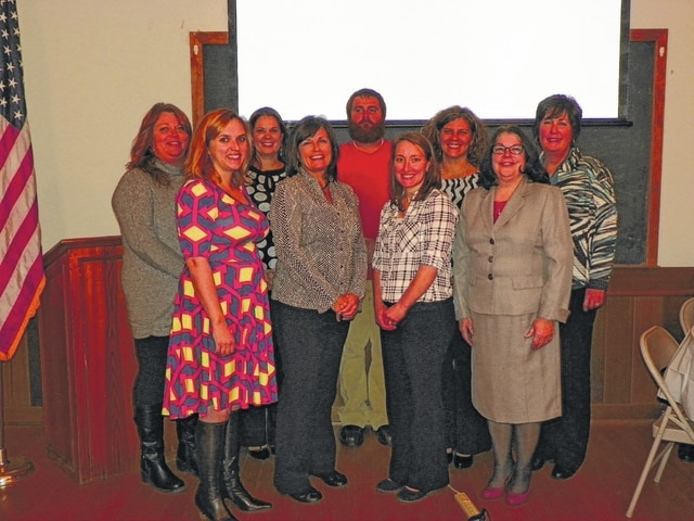 The 2015 Leadership Fayette class graduated Thursday evening at the school house on the Fayette County Fairgrounds with dinner and presentations. Pictured here (L to R): Lori Moore, Erin Rickman, Krystina Bowers, Jolinda Van Dyke, Malcolm Miller, Sarah Sowell, Angela Siler, Joy Stanforth, and Brenda Landis.