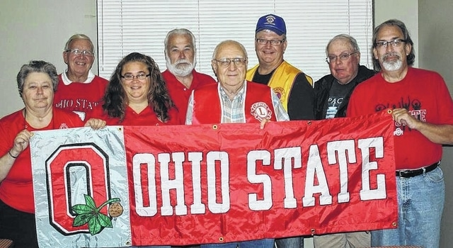 The Washington Court House and Jeffersonville Lions will be holding their annual fundraising OSU versus Michigan tailgate party on Nov. 27 at 6 p.m. in the Mahan Building on the Fayette County Fairgrounds. Pictured here advertising for the upcoming party (L to R): Phyllis Rankin, Gary Herdman, Tracey Rankin Coe, Glenn Rankin, John Rhoad, Dan Dean, Roger Parsons and Chris Bowshier.