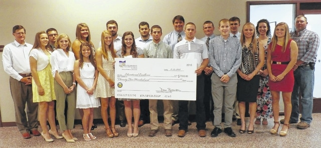 Recipients of the 2015-2016 Educational Excellence Grants pictured: Front row (l-r) Emily Bauman, Adams County; Courtnee Clark, Adams County; Mackenzie Harover, Adams County; Megan Mustard, Highland County; Victoria Walker, Highland County; Charlie Miller, Fayette County; Alec Herrell, Lawrence County; Jeremy Trester, Clermont County; Taylor Brown, Adams County; Holly O'Hara, Brown County . Back row (l-r) Don Branson, SOACDF Executive Director, Jared Cluxton, Brown County; Tara Karnes, Highland County; Paul Snyder, Highland County; Joshua Goodall, Gallia County; Kore Newman, Adams County; Caleb McDowell, Adams; Robert McCormick, Adams County; Baylee Tolle, Adams County; Eric Wolfer, SOACDF Board Chair. Recipients not pictured: Crystal Pennewitt, Clinton County