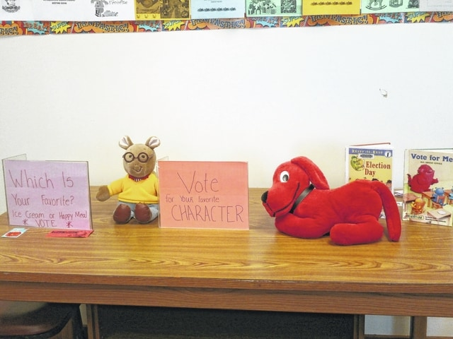 "In keeping with the theme of the day, Election Day, Miss Bonnie's Story Hour recently taught the kids on the subject of voting at the Jeffersonville Public Library. Miss Bonnie read ""Vote for Me,"" a story about voting and then the kids were able to vote on their favorite character, Clifford or Arthur, where Clifford won by a landslide, and they also voted on whether or not they liked ice cream or a happy meal the best."