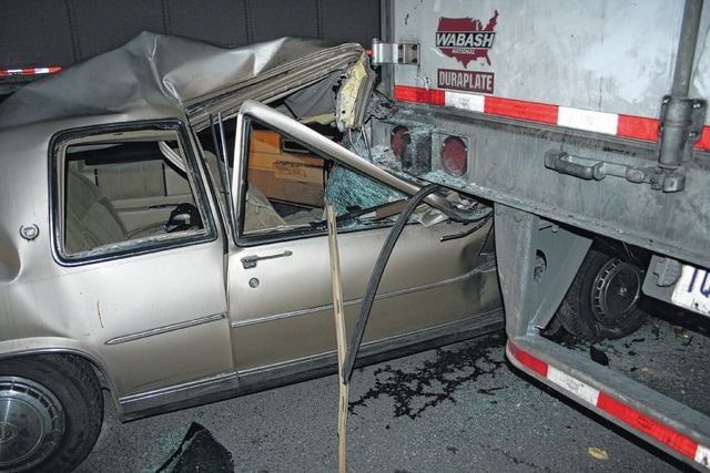 A passenger in this 1987 Cadillac DeVille was seriously injured during an accident with a semi-truck on Lowe's Boulevard in Washington C.H.