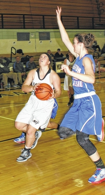Miami Trace senior Alexis Schwartz drives to the basket against Clinton-Massie senior Madison Purkey during an SCOL game Wednesday, Dec. 2, 2015 at Miami Trace High School.