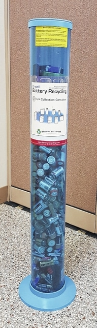 Batteries can be dropped off free of charge in this recycling container at the Fayette SWCD office.