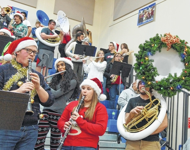 The Washington Blue Lion pep band was feeling the Christmas spirit as they entertained at the game against the Hillsboro Indians on Tuesday, Dec. 15.