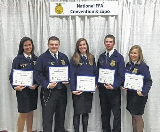 Five Miami Trace FFA students, Kayla Clyburn, Gus Mitchem, Brooke Mossbarger, Charlie Miller and Hannah Peterson, recently received the American FFA degree.