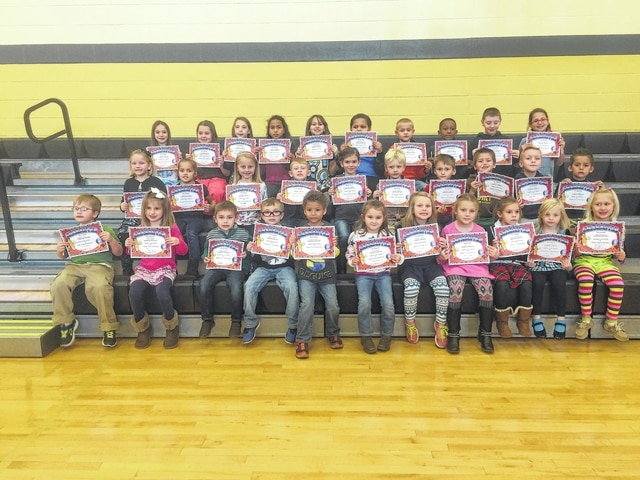 The following students received recognition for being Students of the Month for the month of November at Miami Trace Elementary School. These students were chosen for showing respect at school each and every day and were treated to Donato's Pizza with the principal. Front row (L to R): Landon Sears, Tillie Abbott, Luke Robinette, Bronx Myers, Xavier Harris, Molly Wilt, Lindsey Warnock, Jocie Wilt, Hayley Rosenberger, Savanna Duncan and Kiera Cowman. Middle row (L to R): Bella Roshto, Kierstin Axline, Morgan Pitstick, Gavin Cottrill, Karleigh Cooper, Wade Charters, Anthony Shipley, Trevor Gross, Ben Sturgell and Luis Campos. Back row (L to R): Ashlynn Moore, Norah Burson, Gabbi Thoroman, Kimarrie Johnson, Tandra Hawkins, Noah Thirtyacre, Charlie Worley, Andrew Trout, Cody Moore and Brooklyn Radcliff. Not pictured: Kahlen Jones.