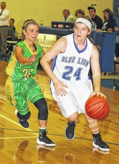 Washington freshman Maddy Jenkins (24) drives around Madison Plains sophomore Megan McCollister during a non-league game at Washington High School Monday, Dec. 14, 2015.