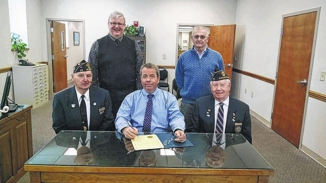 The Fayette County Commissioners recently signed a proclamation designating Sunday, Feb. 7 of this year to be observed as Four Chaplains Sunday. Pictured (L to R): American Legion Post 25 Commander David Fredrick, commissioner Dan Dean, commissioner Tony Anderson, commissioner Jack DeWeese and Four Chaplains Sunday chairman Ed Helt.