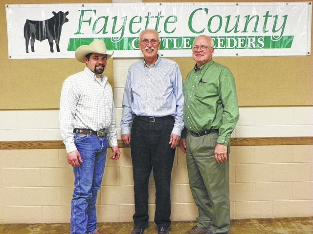 The Fayette County Cattlefeeders honored the late Albert Bihl during the 2016 Winter Banquet held at the Mahan Building Monday evening. Bihl's sons, Steve and David, were on hand to accept the award on their father's behalf, and members of his family also attended the event. They are pictured here with Cattlefeeders President JL Draganic (at left).