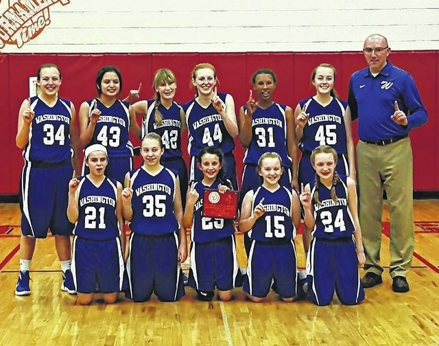 2016 Junior High Tournament champion, 7th grade Washington Lady Blue Lions: (front, l-r); Jordan Montgomery, Corynn Chrisman, Emily Semler, Arianna Heath, Garren Walker; (back, l-r); Kearria Marcum, Alexa Perez, Brooklyn Foose, Cloe Copas, Amya Haithcock, Mallory Hicks and coach Todd Wallace.