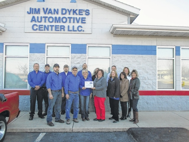 The Fayette County Chamber of Commerce paid a visit to Jim Van Dyke's Automotive & Tire Center to commemorate their 15th anniversary in business. The family owned and operated business does service and repair on all makes and models of automobiles, everything from an oil change to an engine replacement.