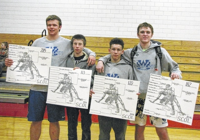 The Washington Blue Lions had four SCOL champions for 2016: (l-r); Trevor Hicks (285), Chris Martin (113), Tre Thomas (120) and Mason McCane (182).