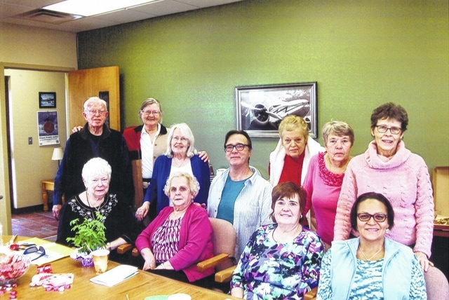 The Washington Garden Club along with several guests recently met for their February meeting and Valentine exchange. Pictured left to right, front row: Ruth Eakins, Helga Kent, Pam Rhoads and Vicki Cardenas; second row: Tom Esper, Jo Ann Brady, Nancy Jo Esper, David Persinger, Linda Morgan, Marjorie Clifford and Mary Estle.